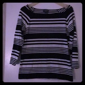 Chaps brand size large black and white stripes
